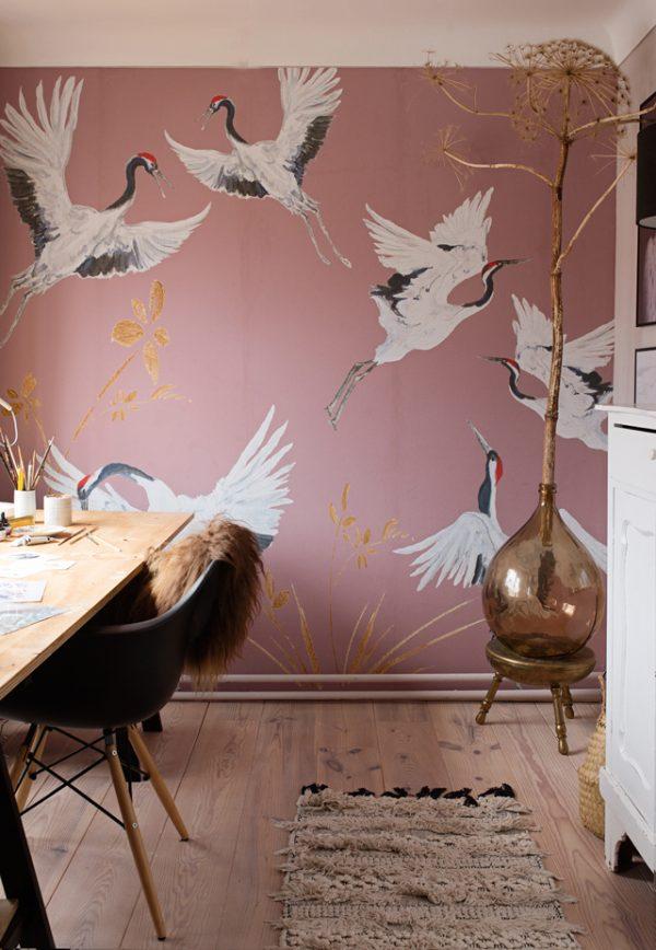 Roze kraanvogel behang