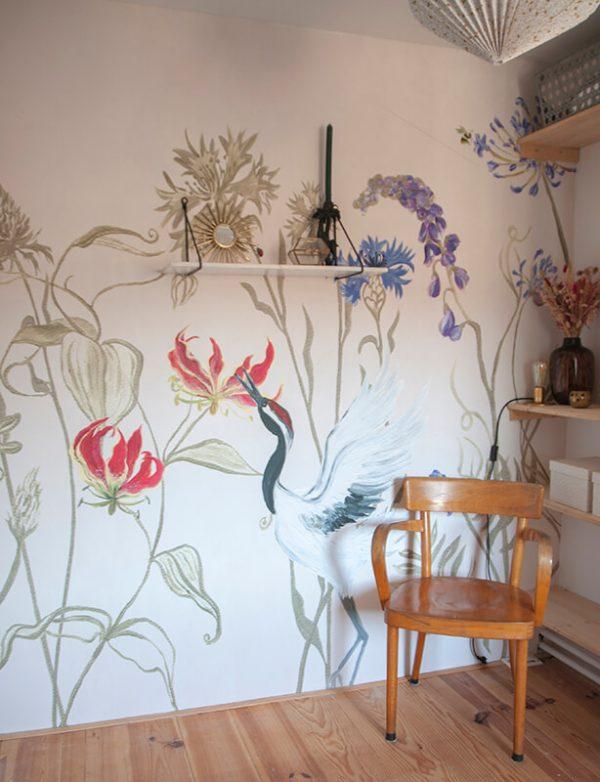 Bloemenvallei textiel behang naturel