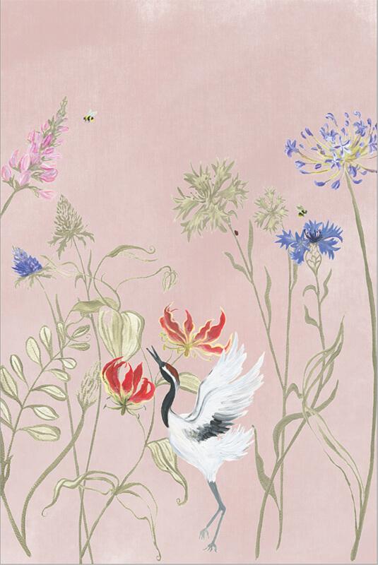 Bloemenvallei behang Pink dust 200x300 cm