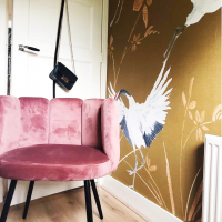 Behang kraanvogels okergeel