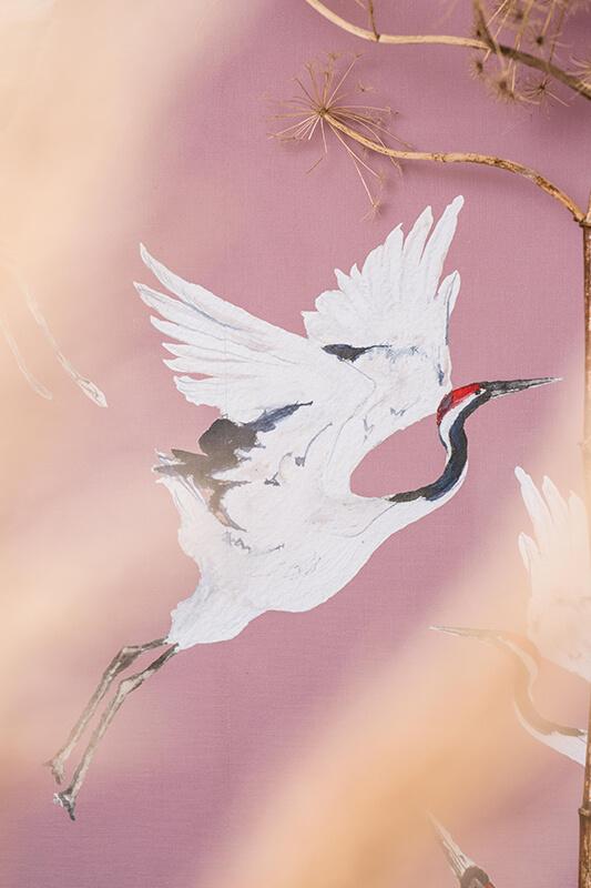 Kraanvogel behang oud roze