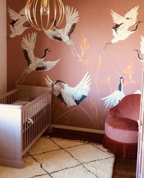 Behang bij klanten thuis roze