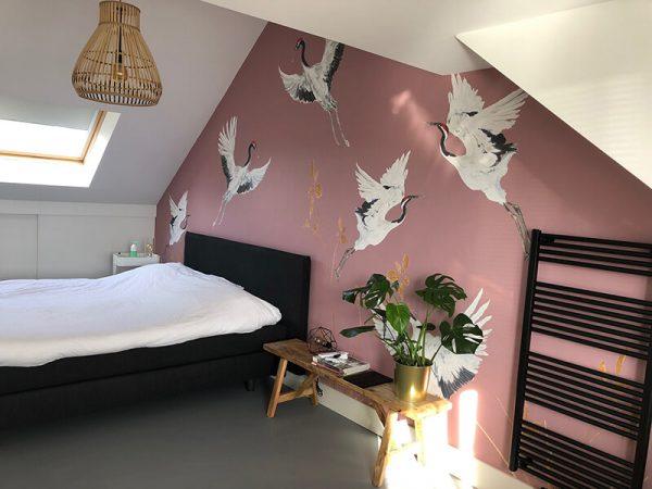 Kraanvogels roze bij klanten thuis