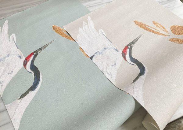 Naturel kraanvogelbehang textiel