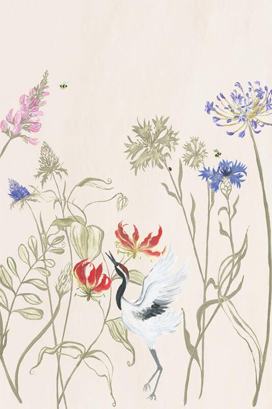 Bloemenvallei behang naturel 200x300 cm