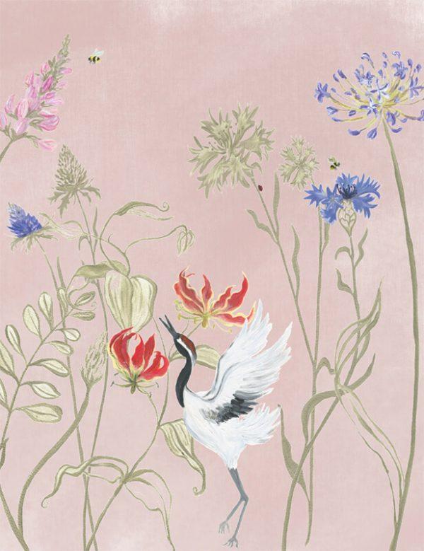 Bloemenvallei behang Pink dust 200x260 cm