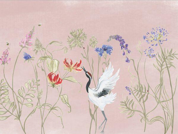 Bloemenvallei behang Pink dust 400x300 cm