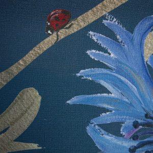 Blauw bloemenvallei behang